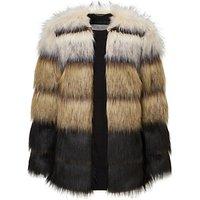 Grace & Oliver Madison Stripe Faux Fur Jacket, Black/Multi