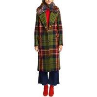 Grace & Oliver Fur Trim Check Coat, Green/Multi