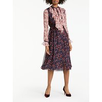 BodenBoden Winifred Midi Frill Floral Dress, Spiced Plum/Marshmallow