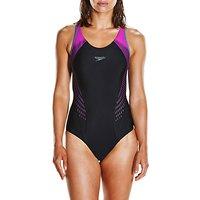Speedo Fit Laneback Swimsuit, Black/diva/grey