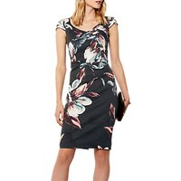 Karen Millen Oversized Floral Print Dress, Grey/Multi