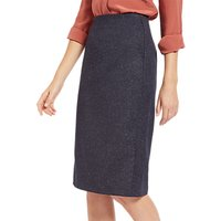 Jaeger Donegal Pencil Skirt, Navy/Ivory