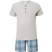 John Lewis Boys' Gingham Short Pyjamas, Grey/Blue