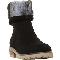 Steve Madden Driller Faux Fur Cuff Ankle Boots , Black Suede