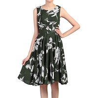 Jolie Moi Floral Print Wrap Belted Dress, Green
