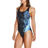 Speedo Energyflo Powerback Swimsuit, Black/violet/spearmint