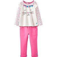 Baby Joule Baby Amalie Cat Top and Trousers Set, Pink/Cream