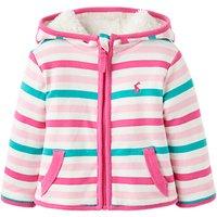 Baby Joules Reversible Cosette Stripe Fleece Hoodie, Pink/Blue