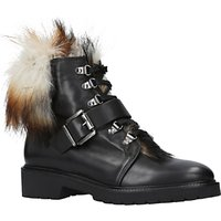 Carvela Sly Faux Fur Lace Up Ankle Boots, Black Leather