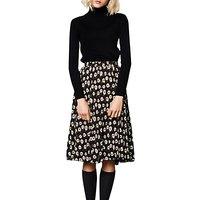 Compañía Fantastica Flower Print Midi Skirt, Black