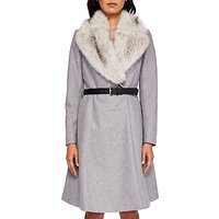 Ted Baker Narniaa Faux Fur Skirted Coat, Light Grey