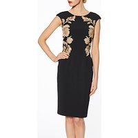 Gina Bacconi Natalie Floral Embroidered Dress, Black/Gold