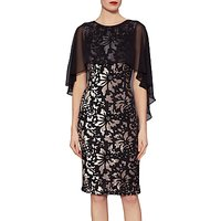 Gina Bacconi Lottie Floral Velvet Cape Dress, Black/Gold