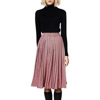 Compañía Fantástica Polka Dot Print Pleated Midi Skirt, Pink/Black