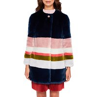 Ted Baker Ramani Missisippi Faux Fur Coat, Mid Blue