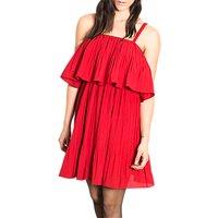 Wild PonyWild Pony Cropped Overlay Ruffled Party Dress, Red