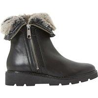 Dune Raiden Faux Fur Calf Boots , Black Leather