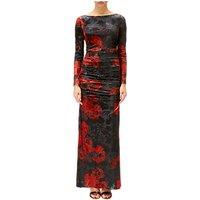Adrianna Papell Velvet Long Sleeve Dress, Cardinal/Black