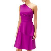 Adrianna Papell Crepe Fit & Flare Asymmetric Dress, Deep Berry