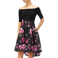 Adrianna Papell Tafetta Fit And Flare Bardot Floral Dress, Black/Fuchsia