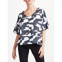 Kin by John Lewis Denim Block Print V-Neck T-Shirt, Multi
