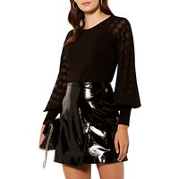Karen Millen Jersey Raglan Textured Sleeve Top, Black