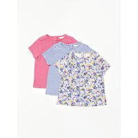 John Lewis Baby Floral & Stripe T-Shirt, Pack of 3