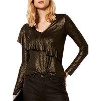 Karen Millen Metallic Drape Jersey Top, Gold