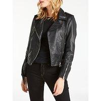 Calvin Klein Mia Leather Biker Jacket, Black