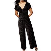 Yumi Velvet Panelled V Neck Wide Leg Pinstripe Jumpsuit, Black