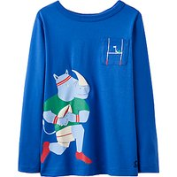 Little Joule Boys Rugby Rhino T-Shirt, Blue