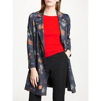 Marc Cain Floral 3/4 Length Coat, Space Blue