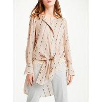 Modern Rarity Silk Clipped Jacquard Blouse, Blush