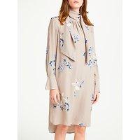 Modern Rarity Tie Neck Spaced Floral Archive Print Dress, Nutmeg