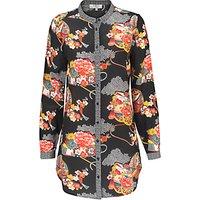 East Shanghai Silk Print Shirt, Black/Multi
