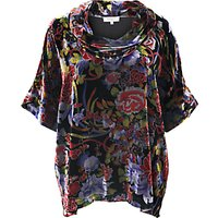 East Meilin Cowl Neck Velvet Top, Multi
