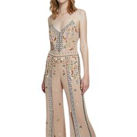 shop for French Connection Bijou Stitch Strappy Jumpsuit, Chantilly Pink/Multi at Shopo