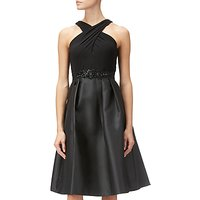 Adrianna Papell Mikado Cross Over Neck Sleeveless Flared Party Dress, Black