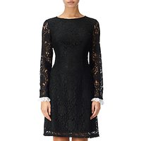 Adrianna Papell Lace Shift Long Sleeve Dress, Black