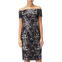 Adrianna Papell Bardot Sheath Pattern Dress, Black/Rose Gold