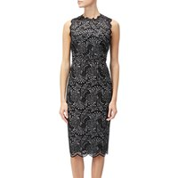 Adrianna Papell Lace Two Tone Sheath Dress, Black/Silver