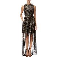 Adrianna Papell Halter Neck Sheer High Low Metallic Long Dress, Black/Gold