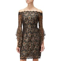 Adrianna Papell Metallic Lace Short Dress, Black/Gold