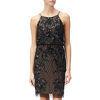 Adrianna Papell Petite Short Beaded Dress, Black Nude