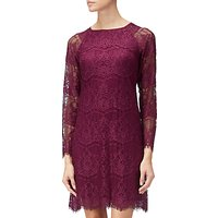 Adrianna Papell Scalloped Lace Trapeze Dress, Burgundy