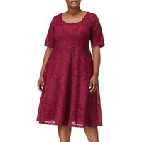 Adrianna Papell Plus Size Fit and Flare Dress, Cardinal