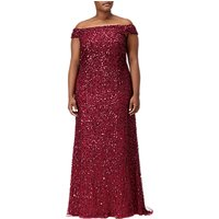 Adrianna Papell Plus Size Off Shoulder Crunchy Bead Gown, Cranberry