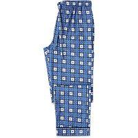 Otis Batterbee Square Cravat Cotton Pyjama Bottoms, Blue