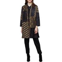 East Jacquard Patchwork Print Kimono, Black