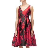 Adrianna Papell Jacquard Fit And Flare Dress, Red/Multi